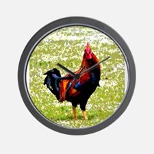 Lisa Welcher Colorful Rooster Wall Clock