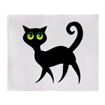 Cat With Green Eyes Throw Blanket