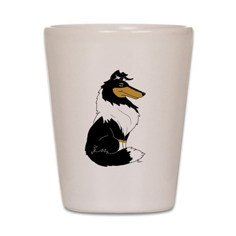 Rough Tricolor Collie Shot Glass