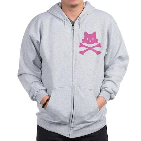 Pink Kitty Crossbones Zip Hoodie