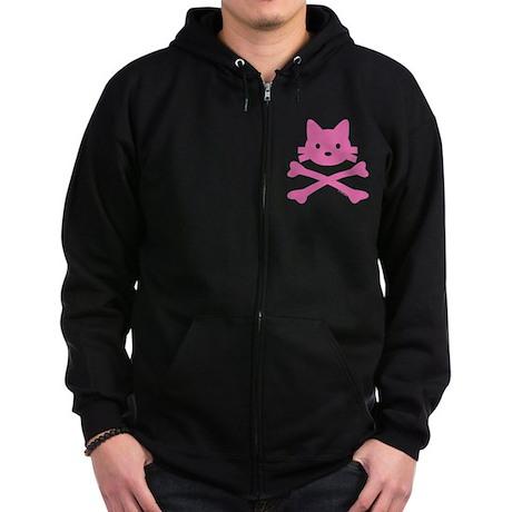 Pink Kitty Crossbones Zip Hoodie (dark)