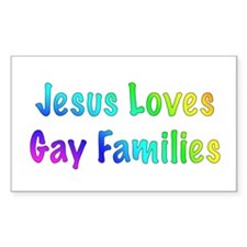 Jesus Loves Gay Families Rectangle Decal