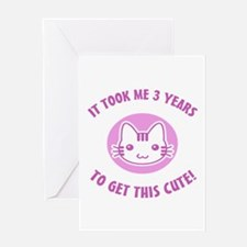 Cute 3rd Birthday (Pink) Greeting Card