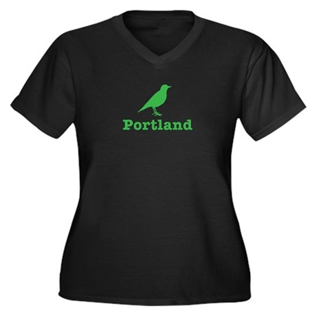 Portland Bird Art Women's Plus Size V-Neck Dark T-