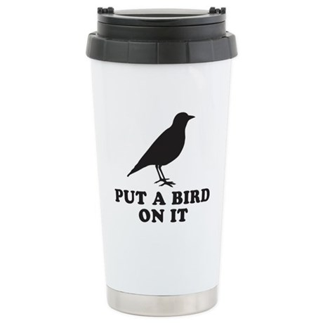 Put A Bird On It (Black) Stainless Steel Travel Mu