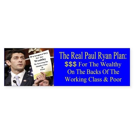 Real Paul Ryan Plan Sticker (Bumper)