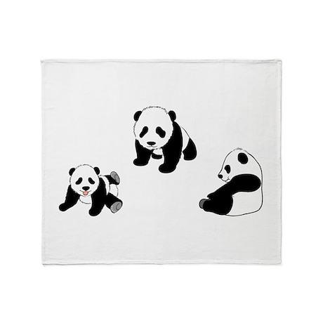 Pandas At Play Throw Blanket