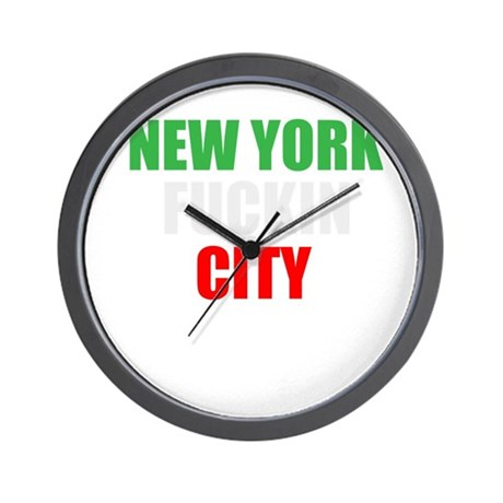 New York Fuckin City Italy Wall Clock