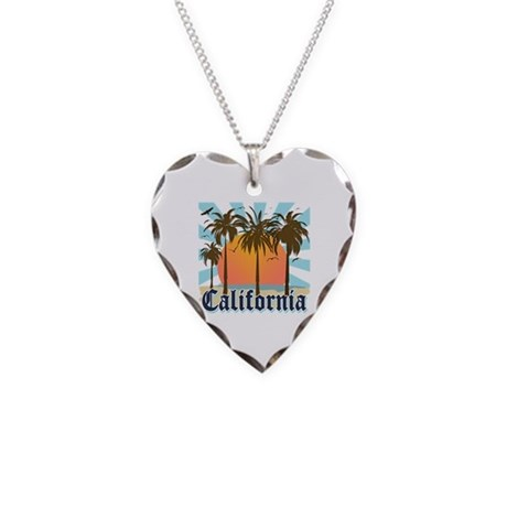 Vintage California Necklace Heart Charm