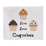 Live Love Cupcakes Throw Blanket