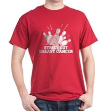 Bowling Strike Out Cancer T-Shirt