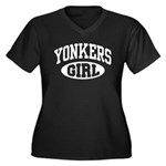 Yonkers Girl Women's Plus Size V-Neck Dark T-Shirt