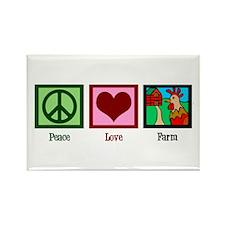 Peace Love Farm Rectangle Magnet