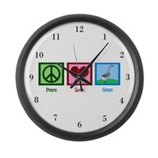 Peace Love Geese Large Wall Clock