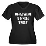 Real Treat Women's Plus Size V-Neck Dark T-Shirt