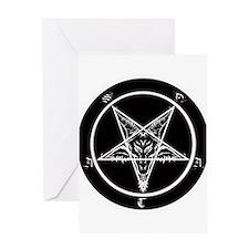satan goat pentagram sigil of baphomet Greeting Ca