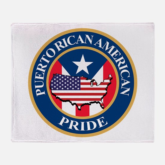 Puerto Rican American Pride Throw Blanket