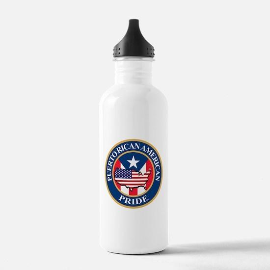 Puerto Rican American Pride Water Bottle