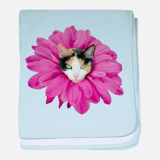 Calico Cat Flower baby blanket