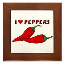 I Love Peppers Framed Tile