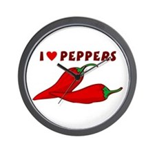 I Love Peppers Wall Clock