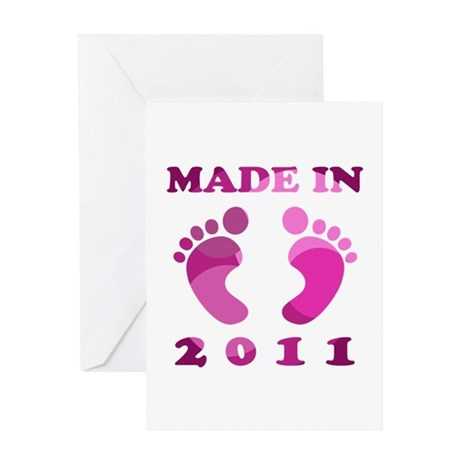Made In 2011 (Pink) Greeting Card