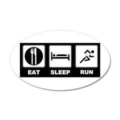 Eat sleep run 38.5 x 24.5 Oval Wall Peel