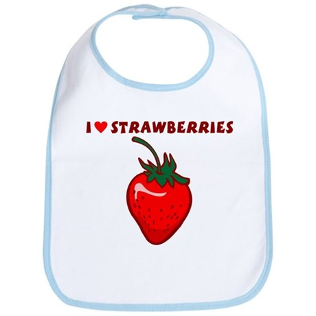I Love Strawberries Baby Bib