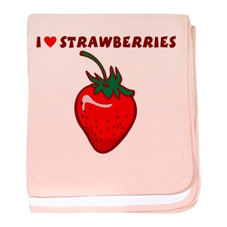 I Love Strawberries baby blanket