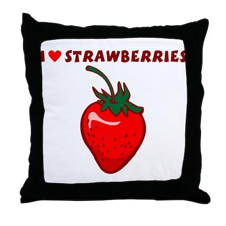 I Love Strawberries Throw Pillow