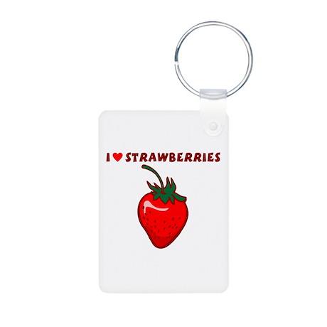 I Love Strawberries Aluminum Photo Keychain