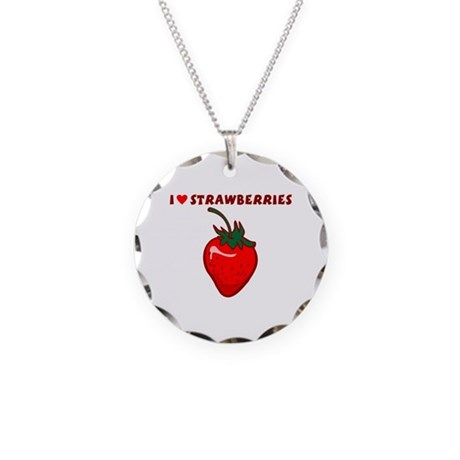 I Love Strawberries Necklace Circle Charm