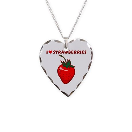 I Love Strawberries Necklace Heart Charm