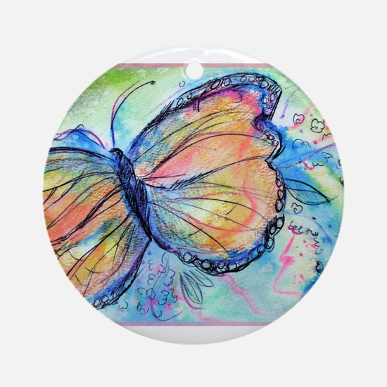 Beautiful, Butterfly, Ornament (Round)