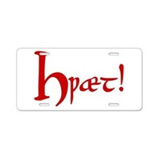 Hwaet! (Red) Aluminum License Plate