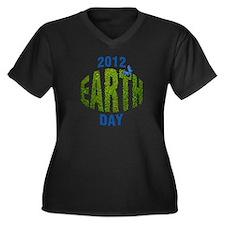 Earth Day 2012 Women's Plus Size V-Neck Dark T-Shi
