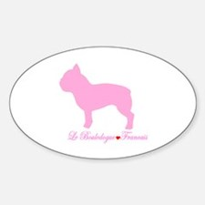 French Bulldog Pink Oval Decal