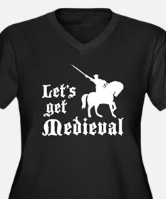 Let's Get Medieval Women's Plus Size V-Neck Dark T