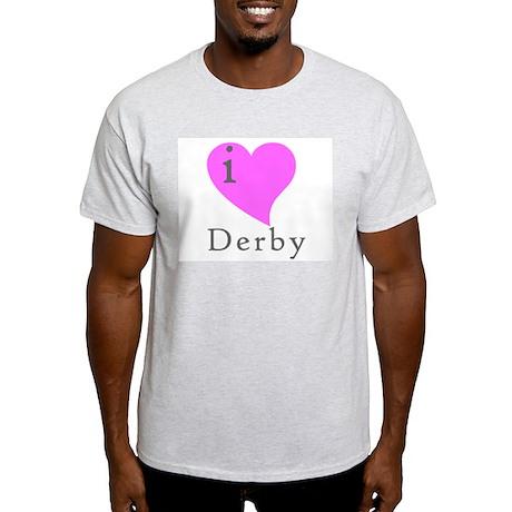 I heart Derby (pink) Ash Grey T-Shirt
