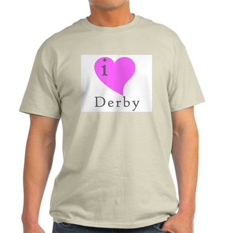 I heart Derby (pink) Ash Grey T-Shirt
