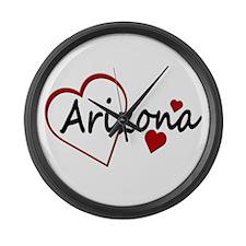 I Love Arizona Hearts Large Wall Clock