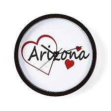 I Love Arizona Hearts Wall Clock