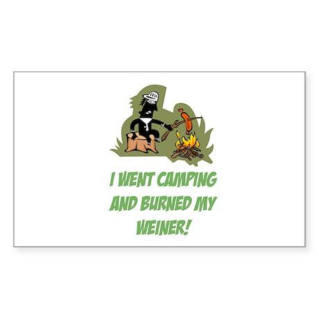Burned My Weiner! Sticker (Rectangle)