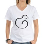 Whimsical Black Cat Women's V-Neck T-Shirt