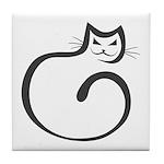Whimsical Black Cat Tile Coaster
