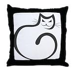 Whimsical Black Cat Throw Pillow