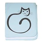 Whimsical Black Cat baby blanket