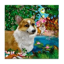 WELSH CORGI DOGS PARADISE Tile Coaster