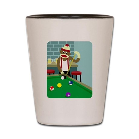 Sock Monkey Pool Player Shot Glass