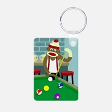 Sock Monkey Pool Player Keychains